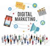 Concepto de la comunicación de marketing de Digitaces de la idea del negocio imágenes de archivo libres de regalías