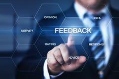 Concepto de la comunicación del servicio de la opinión de la calidad del negocio de la reacción imagen de archivo