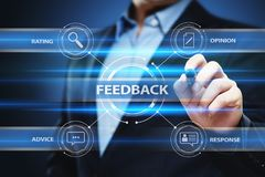 Concepto de la comunicación del servicio de la opinión de la calidad del negocio de la reacción fotos de archivo