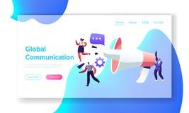 Concepto de la comunicación global, equipo del márketing con el megáfono enorme, publicidad alerta, propaganda, relaciones públic libre illustration