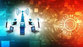 Concepto de la comunicación de Internet, concepto inalámbrico de Internet 3D rendido stock de ilustración