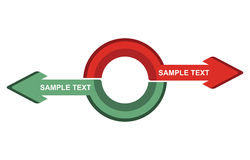 Concepto de la comunicación, plantilla con las flechas Foto de archivo libre de regalías
