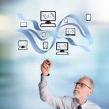 Concepto de la comunicación de la red del dibujo del hombre de negocios Imagen de archivo libre de regalías