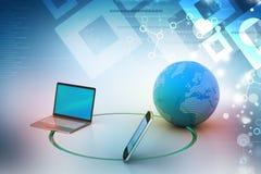 Concepto de la comunicación de la red global y de Internet Foto de archivo