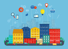Concepto de la comunicación global y de la navegación con aro plano de los iconos Foto de archivo libre de regalías
