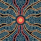 Concepto de la conexión, pintura aborigen del vector del arte, ejemplo basado en el estilo aborigen del fondo del punto ilustración del vector
