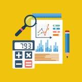 Concepto de la contabilidad financiera proceso de la organización, analytics Imagen de archivo libre de regalías