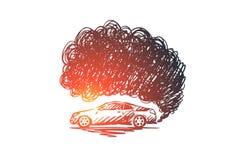 Concepto de la contaminación Ejemplo aislado bosquejo exhausto de la mano ilustración del vector