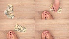 Concepto de la corrupción, hombre que da el dinero del soborno a la mujer Foto de archivo