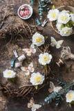 Concepto de la creatividad - decoraciones interiores caseras hechas a mano de la endecha plana - guirnalda de vides con las flore Foto de archivo