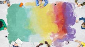 Concepto de la creatividad del creyón de las ilustraciones del colorante de la pintura Fotos de archivo libres de regalías