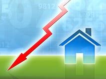 Concepto de la crisis del mercado de la casa de la característica abajo Imagen de archivo libre de regalías