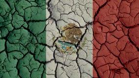 Concepto de la crisis política: Grietas del fango con la bandera de México imagen de archivo libre de regalías