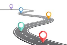 Concepto de la cronología de la carretera con curvas ilustración del vector