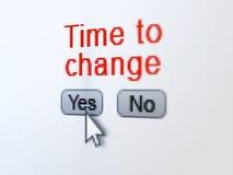 Concepto de la cronología: Hora de cambiar en la pantalla de ordenador digital Fotos de archivo libres de regalías