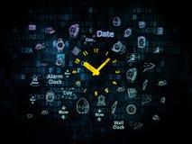 Concepto de la cronología: Reloj en fondo digital Fotos de archivo libres de regalías