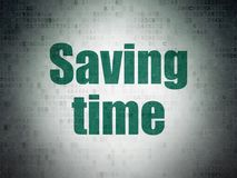 Concepto de la cronología: Tiempo del ahorro en fondo del papel de datos de Digitaces stock de ilustración