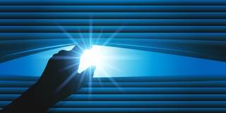 Concepto de la curiosidad con una persona que levanta las cuchillas de una persiana para mirar afuera libre illustration