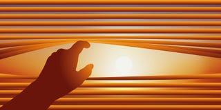 Concepto de la curiosidad con una persona que levanta las cuchillas de una persiana para mirar afuera stock de ilustración