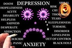 Concepto de la depresión y de la ansiedad Imagen de archivo libre de regalías
