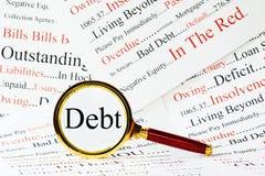 Concepto de la deuda Foto de archivo libre de regalías