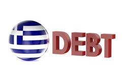 Concepto de la deuda de Grecia Foto de archivo libre de regalías
