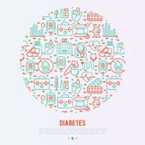 Concepto de la diabetes en círculo con la línea fina iconos ilustración del vector