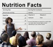 Concepto de la dieta de la consumición de la medicina de la salud de los hechos de la nutrición foto de archivo
