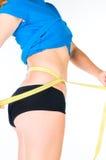 Concepto de la dieta de la mujer con la cinta de medición Imagen de archivo