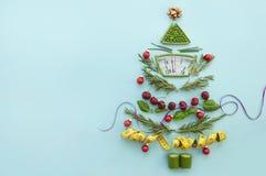 Concepto de la dieta de enero de la Navidad imágenes de archivo libres de regalías