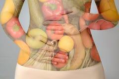 Concepto de la dieta sana de la exposición doble Foto de archivo