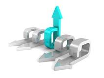 Concepto de la dirección con la flecha azul de Gray Group Imágenes de archivo libres de regalías