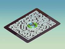 Concepto de la dirección de Maze Strategy Success Solution Determination Foto de archivo