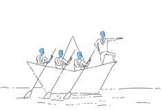 Concepto de la dirección del trabajo en equipo de Leading Business People Team Swim In Paper Boat del hombre de negocios stock de ilustración