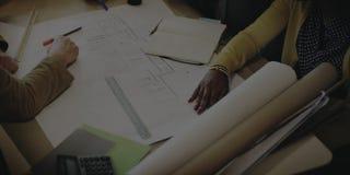 Concepto de la discusión de Design Project Meeting del arquitecto imagen de archivo