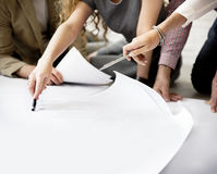 Concepto de la disposición de Thinking Ideas Creative del diseñador Imagen de archivo libre de regalías