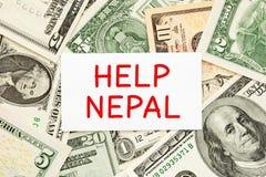 Concepto de la donación de Nepal de la ayuda Foto de archivo libre de regalías