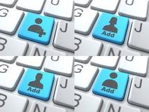 Concepto de la E-datación - botón azul en el teclado Foto de archivo