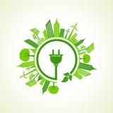 Concepto de la ecología con el enchufe eléctrico Fotografía de archivo libre de regalías
