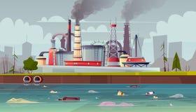Concepto de la ecología del vector Contaminación de agua Planta de fábrica ilustración del vector