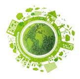 Concepto de la ecología en el fondo blanco Imagen de archivo libre de regalías