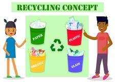 Concepto de la ecología Muchacho y muchacha que señalan a los cubos de la basura Protección del medio ambiente y reciclaje Ilustr libre illustration
