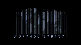 Concepto de la economía global Mapa del mundo como código de barras mapa del mundo como de codigo de barras