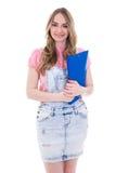 Concepto de la educación - adolescente feliz con la carpeta aislada en w Fotografía de archivo libre de regalías