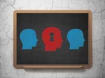 Concepto de la educación: cabeza con el icono del ojo de la cerradura encendido Imágenes de archivo libres de regalías