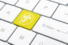 Concepto de la educación: Cabeza con los engranajes en backgrou del teclado de ordenador Imágenes de archivo libres de regalías