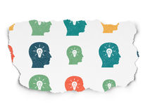 Concepto de la educación: Cabeza con los iconos de la bombilla encendido Fotos de archivo