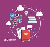 Concepto de la educación - ejemplo Diseño plano de la inspiración con los iconos de ideas, libros, proceso Fotografía de archivo