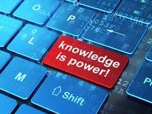Concepto de la educación: ¡El conocimiento es poder! en la parte posterior del teclado de ordenador stock de ilustración