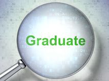 Concepto de la educación: Graduado con el vidrio óptico Imagen de archivo